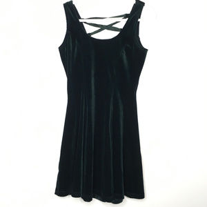 Vintage Green Velvet Corset Back Mini Dress